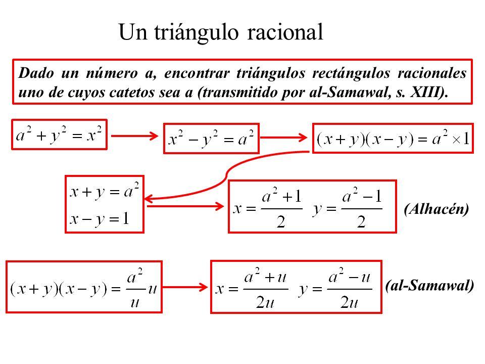Un triángulo racional Dado un número a, encontrar triángulos rectángulos racionales uno de cuyos catetos sea a (transmitido por al-Samawal, s.