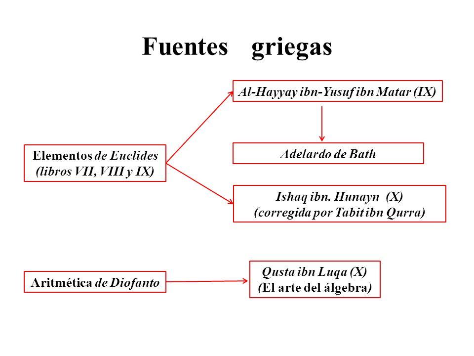 Fuentes griegas Elementos de Euclides (libros VII, VIII y IX) Al-Hayyay ibn-Yusuf ibn Matar (IX) Ishaq ibn.