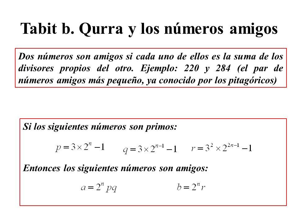 Tabit b. Qurra y los números amigos Dos números son amigos si cada uno de ellos es la suma de los divisores propios del otro. Ejemplo: 220 y 284 (el p