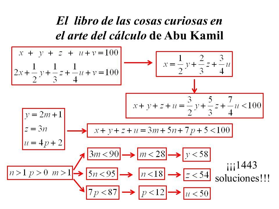 El libro de las cosas curiosas en el arte del cálculo de Abu Kamil ¡¡¡1443 soluciones!!!
