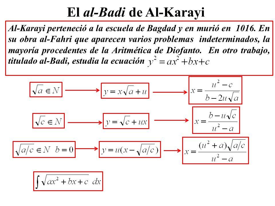 El al-Badi de Al-Karayi Al-Karayi perteneció a la escuela de Bagdad y en murió en 1016. En su obra al-Fahri que aparecen varios problemas indeterminad
