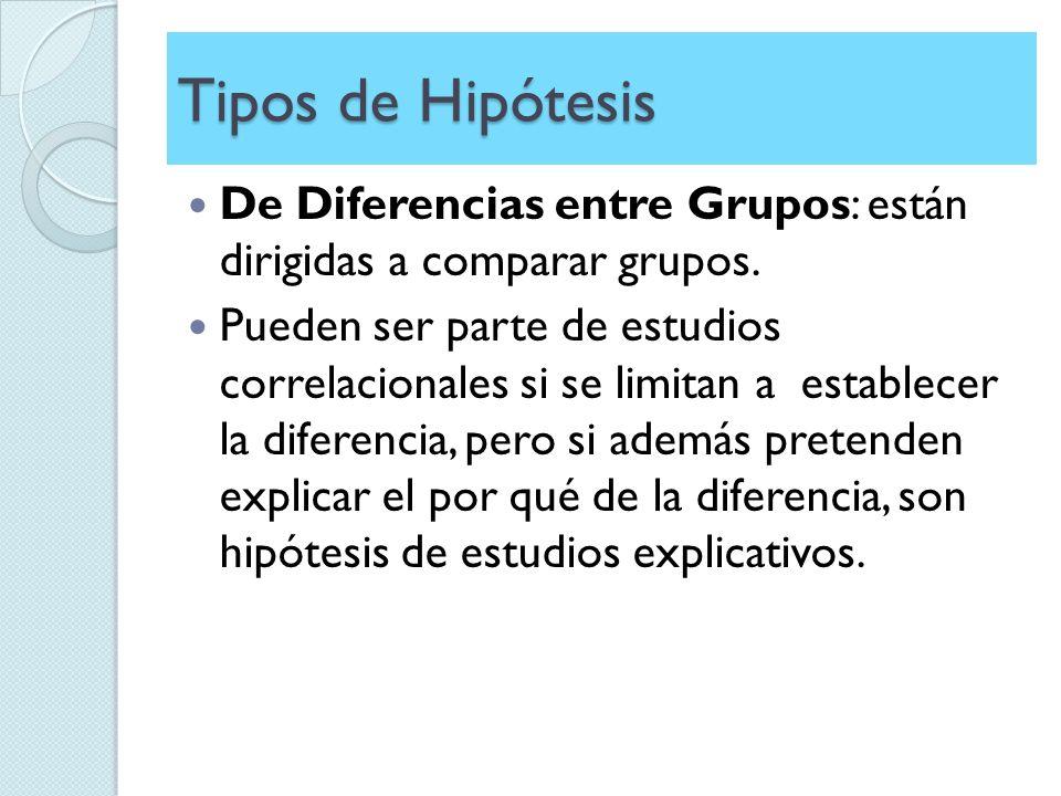 Tipos de Hipótesis De Diferencias entre Grupos: están dirigidas a comparar grupos. Pueden ser parte de estudios correlacionales si se limitan a establ