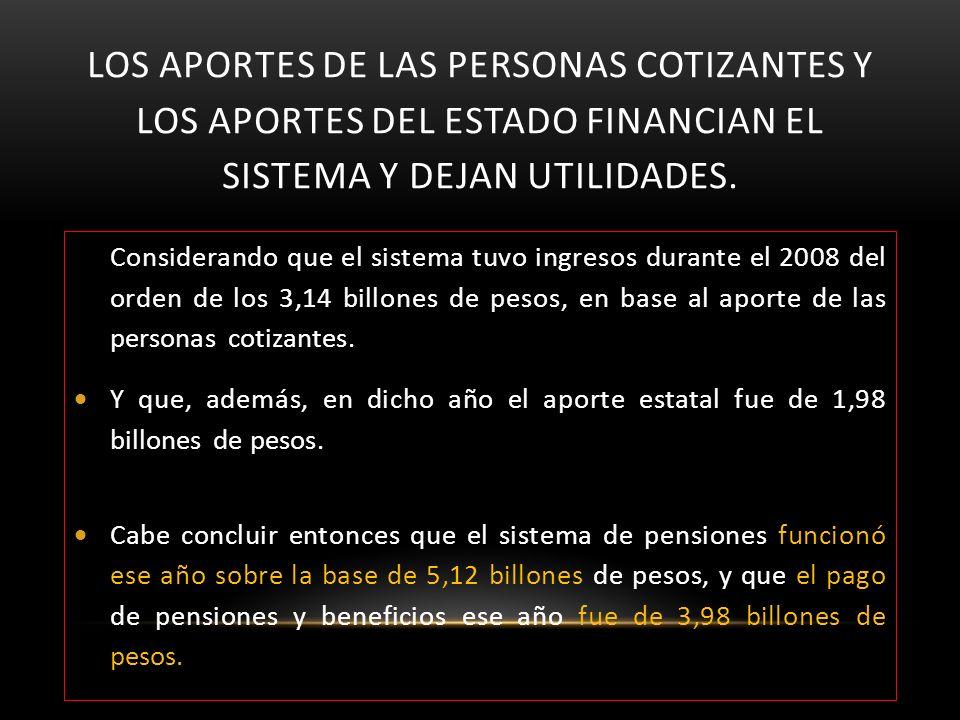 LOS APORTES DE LAS PERSONAS COTIZANTES Y LOS APORTES DEL ESTADO FINANCIAN EL SISTEMA Y DEJAN UTILIDADES. Considerando que el sistema tuvo ingresos dur