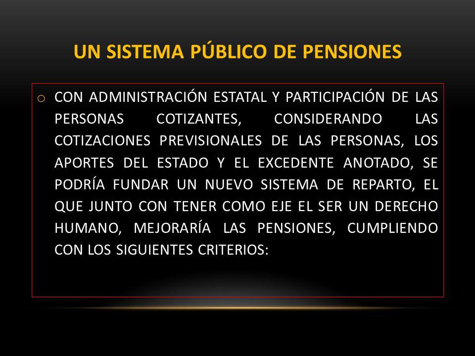 UN SISTEMA PÚBLICO DE PENSIONES o CON ADMINISTRACIÓN ESTATAL Y PARTICIPACIÓN DE LAS PERSONAS COTIZANTES, CONSIDERANDO LAS COTIZACIONES PREVISIONALES D