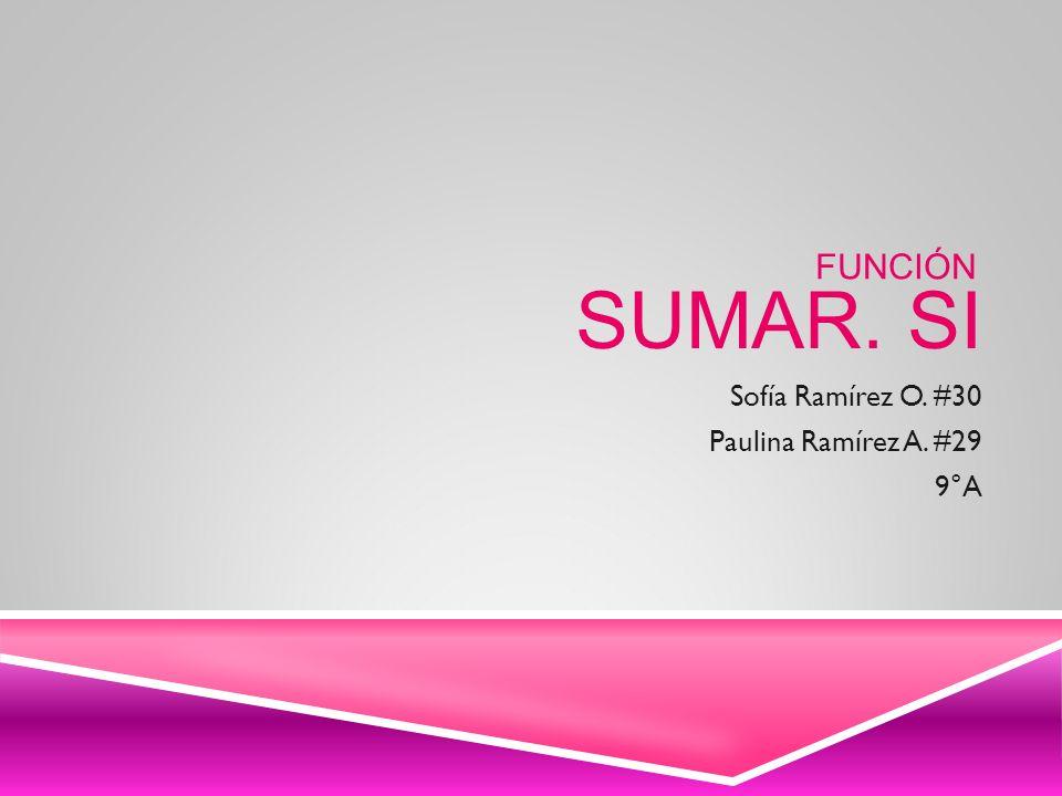 SUMAR. SI Sofía Ramírez O. #30 Paulina Ramírez A. #29 9°A FUNCIÓN
