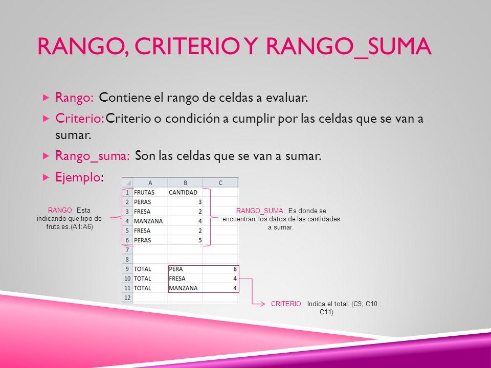 RANGO, CRITERIO Y RANGO_SUMA Rango: Contiene el rango de celdas a evaluar. Criterio: Criterio o condición a cumplir por las celdas que se van a sumar.