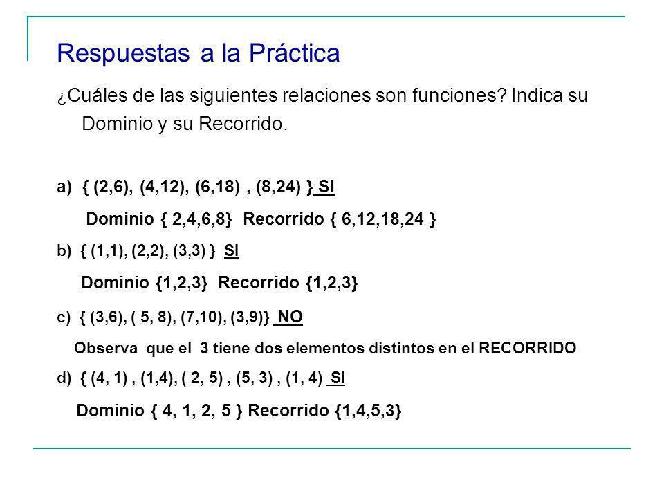 Respuestas a la Práctica ¿ Cuáles de las siguientes relaciones son funciones.