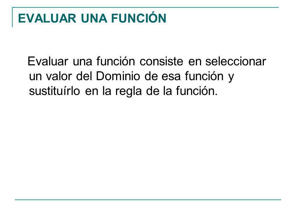 EVALUAR UNA FUNCIÓN Evaluar una función consiste en seleccionar un valor del Dominio de esa función y sustituírlo en la regla de la función.
