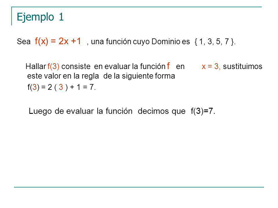 Ejemplo 1 Sea f(x) = 2x +1, una función cuyo Dominio es { 1, 3, 5, 7 }.