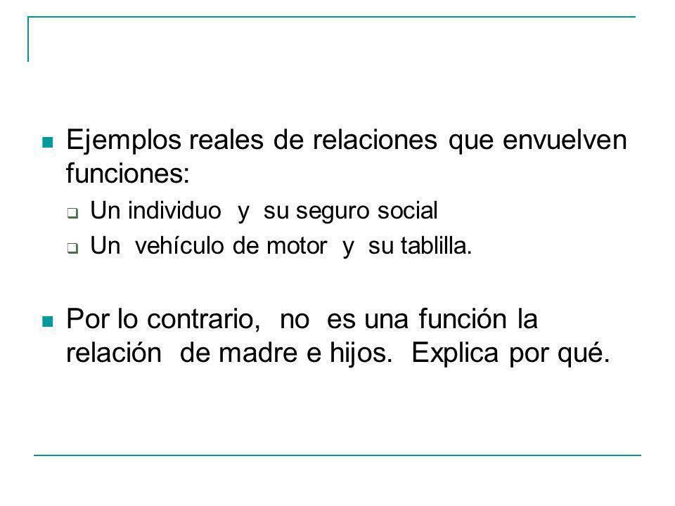 Ejemplos reales de relaciones que envuelven funciones: Un individuo y su seguro social Un vehículo de motor y su tablilla.