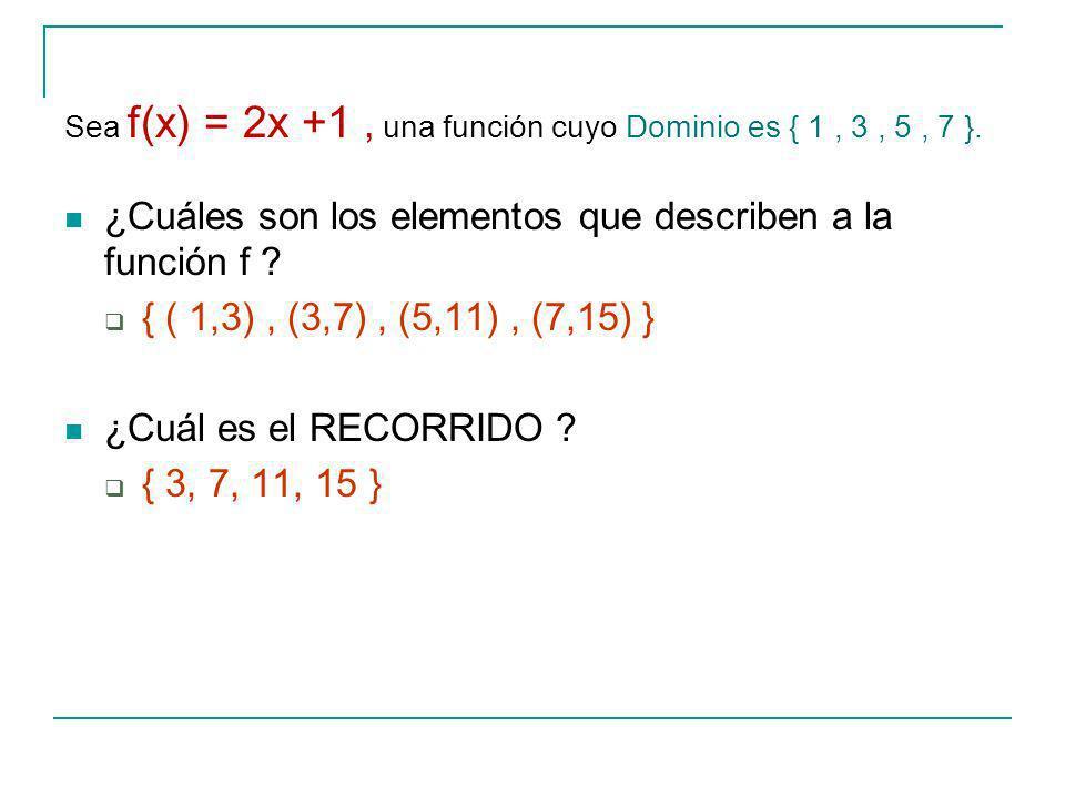 Sea f(x) = 2x +1, una función cuyo Dominio es { 1, 3, 5, 7 }.