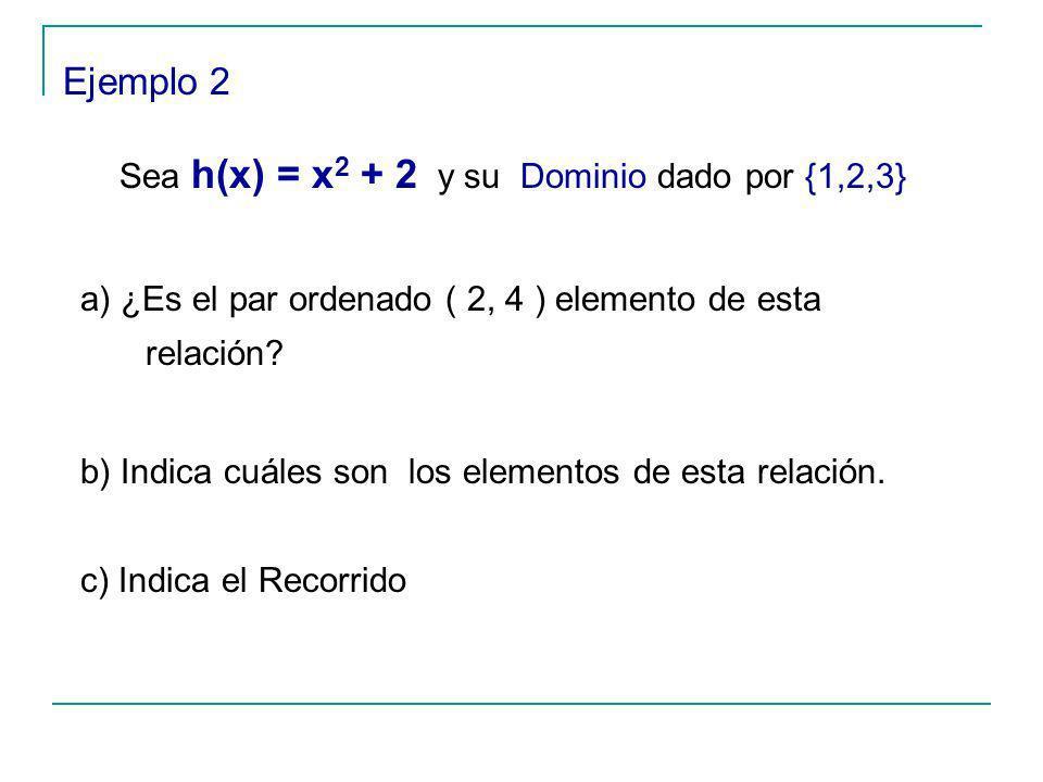Ejemplo 2 Sea h(x) = x 2 + 2 y su Dominio dado por {1,2,3} a) ¿Es el par ordenado ( 2, 4 ) elemento de esta relación.
