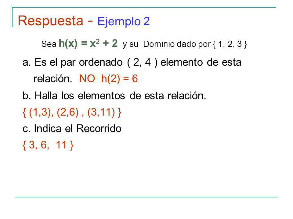 Respuesta - Ejemplo 2 Sea h(x) = x 2 + 2 y su Dominio dado por { 1, 2, 3 } a.
