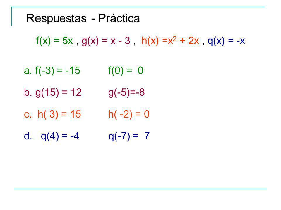 Respuestas - Práctica f(x) = 5x, g(x) = x - 3, h(x) =x 2 + 2x, q(x) = -x a.