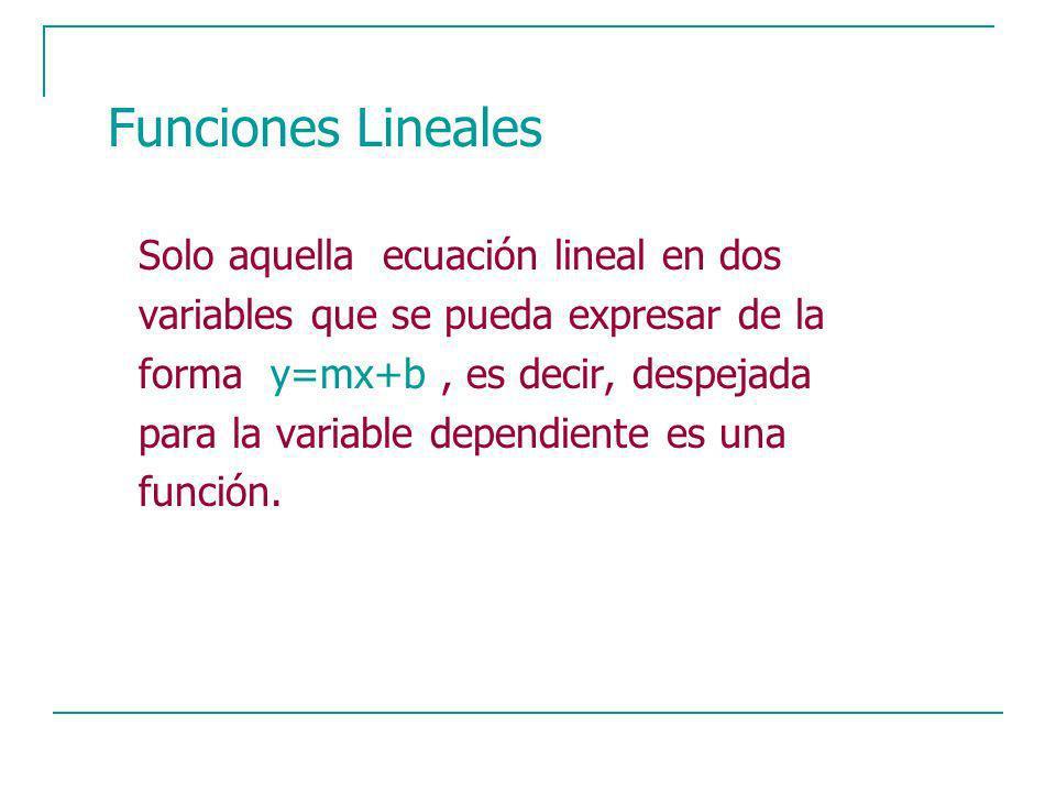 Solo aquella ecuación lineal en dos variables que se pueda expresar de la forma y=mx+b, es decir, despejada para la variable dependiente es una función.
