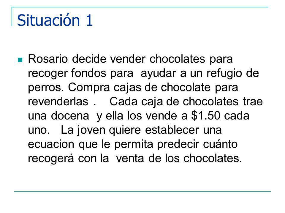 Situación 1 Rosario decide vender chocolates para recoger fondos para ayudar a un refugio de perros.