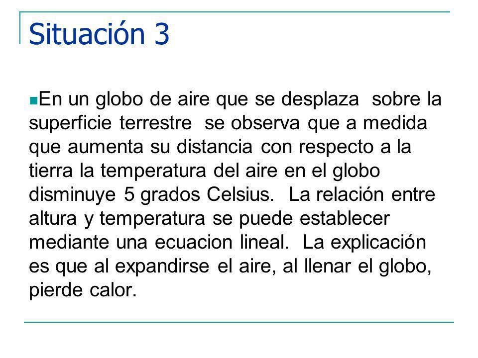 Situación 3 En un globo de aire que se desplaza sobre la superficie terrestre se observa que a medida que aumenta su distancia con respecto a la tierra la temperatura del aire en el globo disminuye 5 grados Celsius.