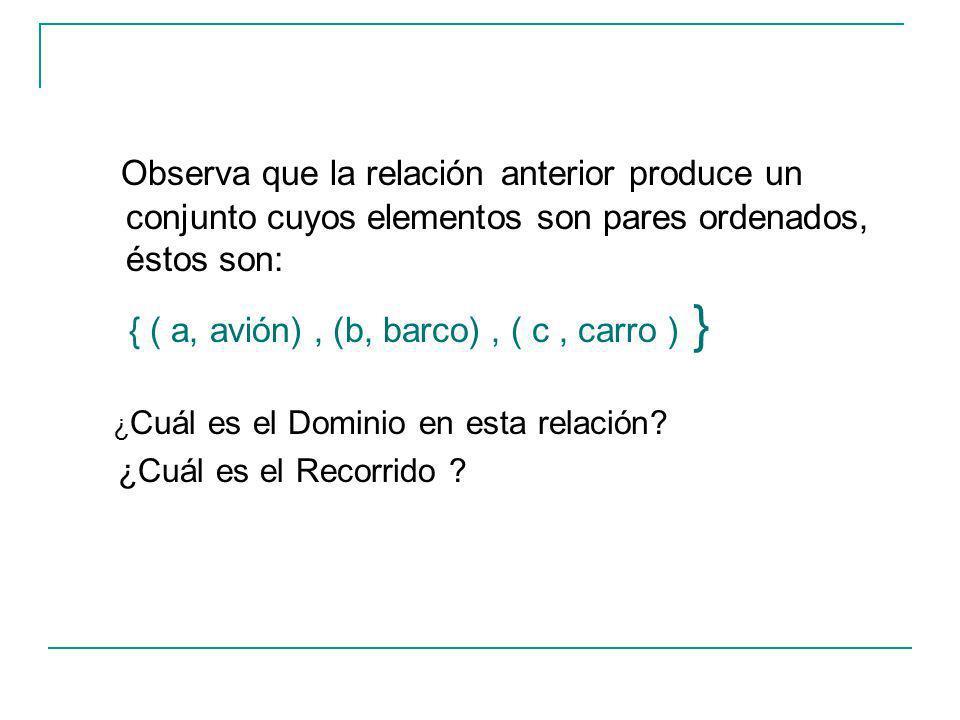 Observa que la relación anterior produce un conjunto cuyos elementos son pares ordenados, éstos son: { ( a, avión), (b, barco), ( c, carro ) } ¿ Cuál es el Dominio en esta relación.