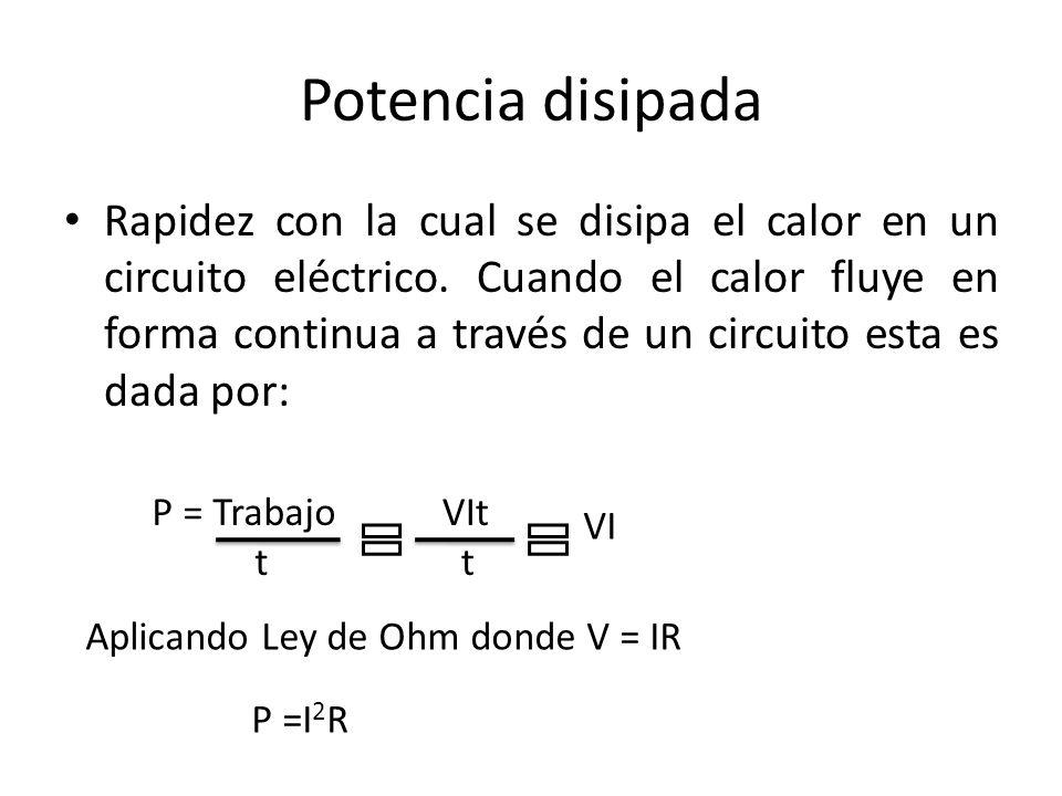 Potencia disipada Rapidez con la cual se disipa el calor en un circuito eléctrico. Cuando el calor fluye en forma continua a través de un circuito est