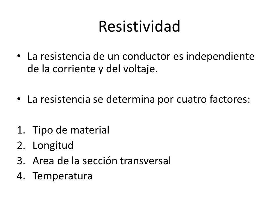 Resistividad La resistencia de un conductor es independiente de la corriente y del voltaje. La resistencia se determina por cuatro factores: 1.Tipo de