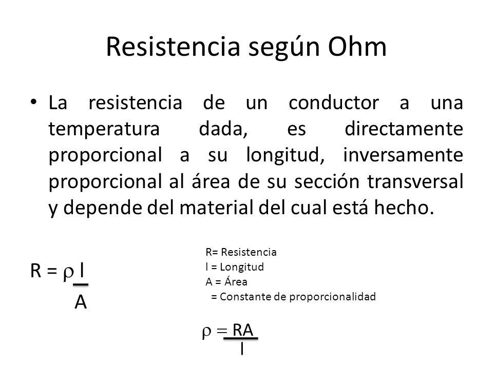 Resistencia según Ohm La resistencia de un conductor a una temperatura dada, es directamente proporcional a su longitud, inversamente proporcional al