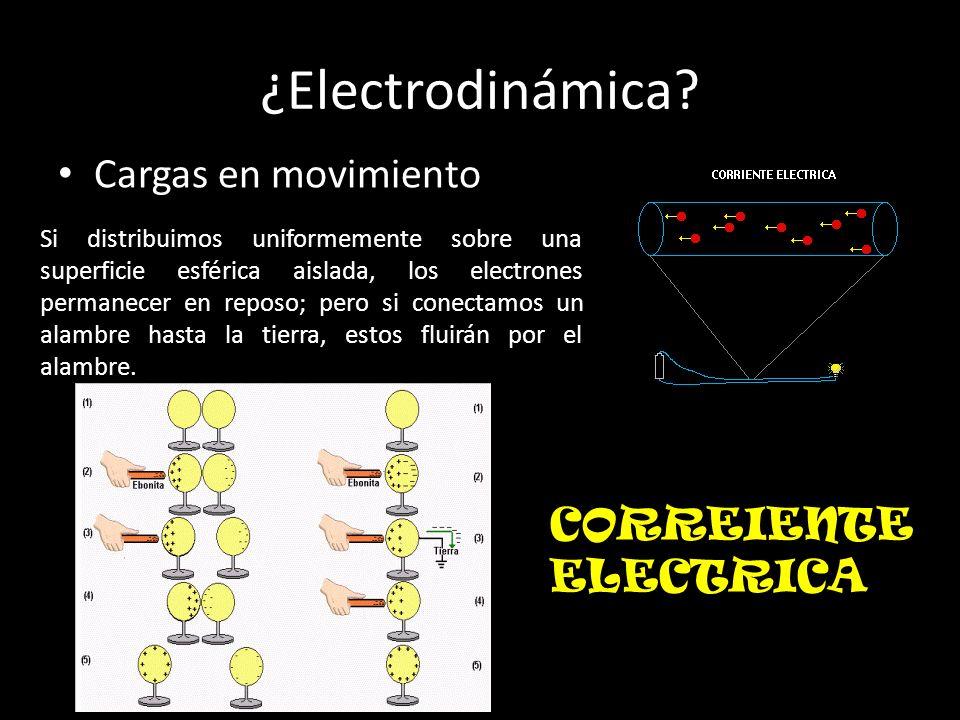 ¿Electrodinámica? Cargas en movimiento Si distribuimos uniformemente sobre una superficie esférica aislada, los electrones permanecer en reposo; pero