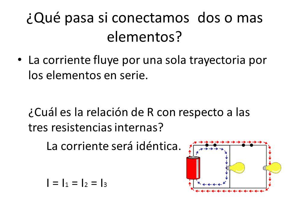 ¿Qué pasa si conectamos dos o mas elementos? La corriente fluye por una sola trayectoria por los elementos en serie. ¿Cuál es la relación de R con res