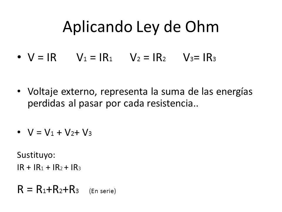Aplicando Ley de Ohm V = IR V 1 = IR 1 V 2 = IR 2 V 3 = IR 3 Voltaje externo, representa la suma de las energías perdidas al pasar por cada resistenci