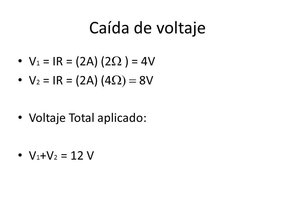 Caída de voltaje V 1 = IR = (2A) (2 ) = 4V V 2 = IR = (2A) (4 8V Voltaje Total aplicado: V 1 +V 2 = 12 V