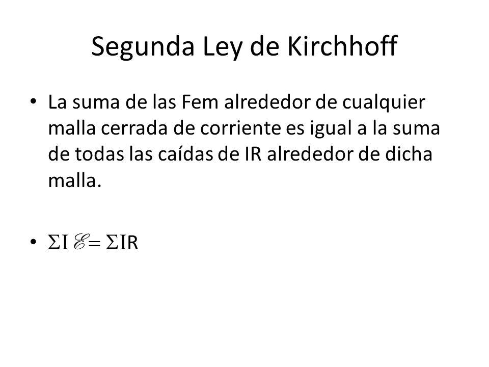 Segunda Ley de Kirchhoff La suma de las Fem alrededor de cualquier malla cerrada de corriente es igual a la suma de todas las caídas de IR alrededor d