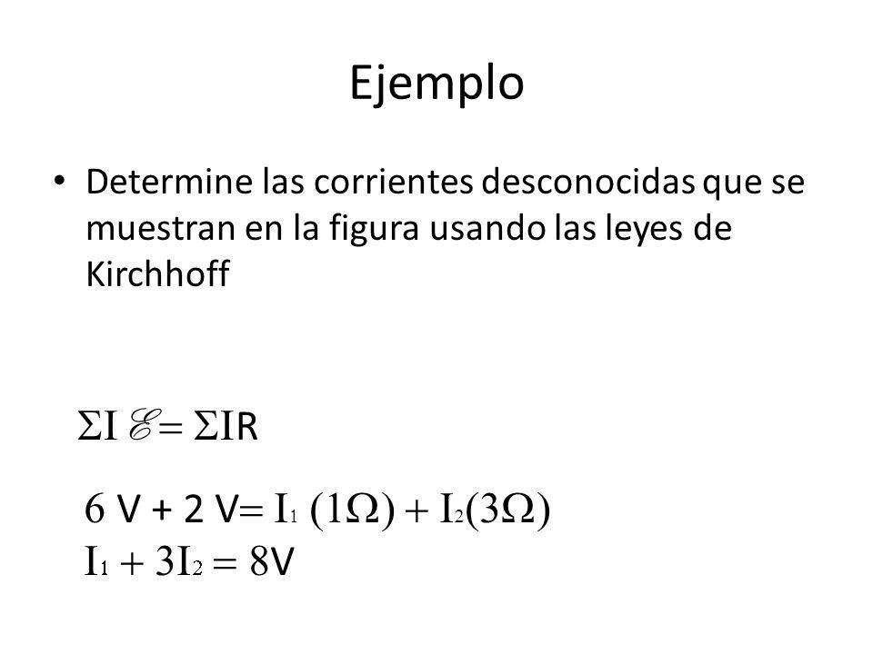 Ejemplo Determine las corrientes desconocidas que se muestran en la figura usando las leyes de Kirchhoff E R V + 2 V V