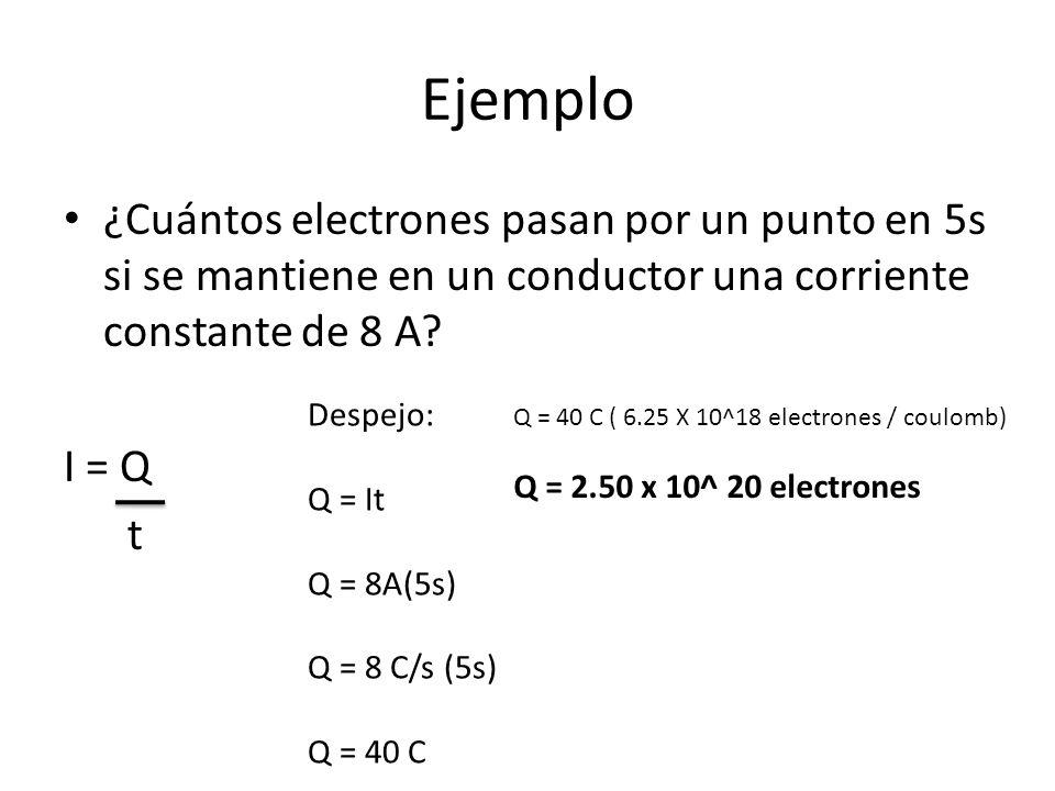 Ejemplo ¿Cuántos electrones pasan por un punto en 5s si se mantiene en un conductor una corriente constante de 8 A? I = Q t Despejo: Q = It Q = 8A(5s)