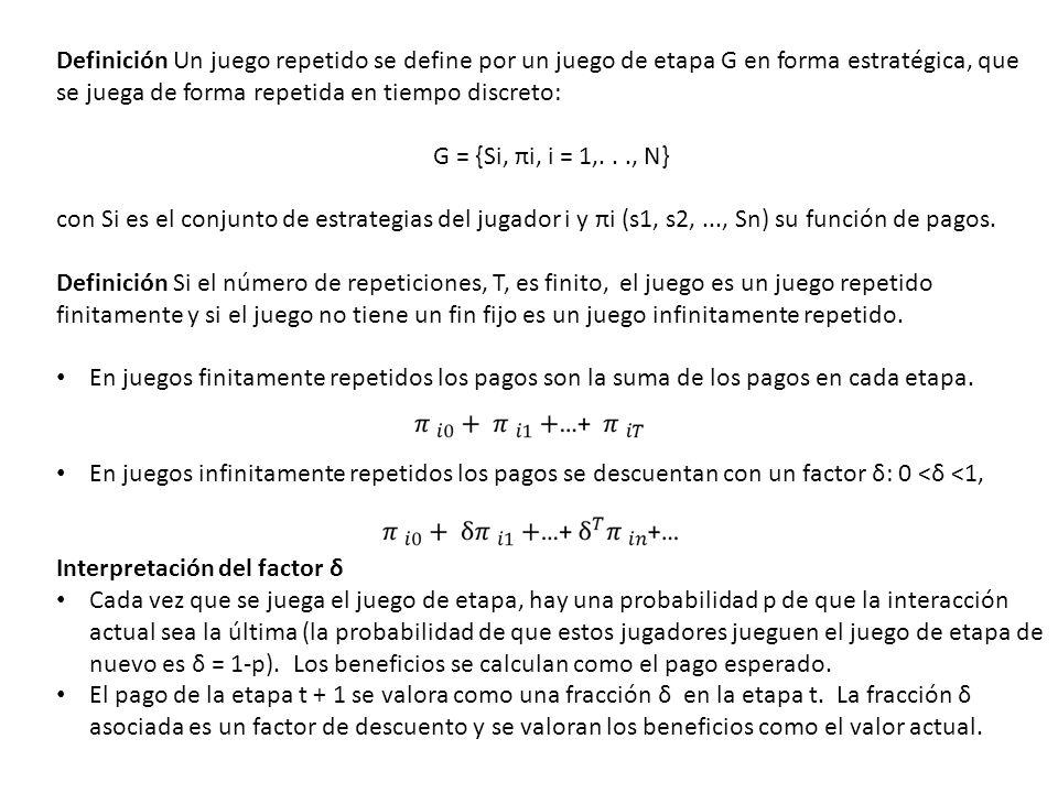 Definición Un juego repetido se define por un juego de etapa G en forma estratégica, que se juega de forma repetida en tiempo discreto: G = {Si, πi, i