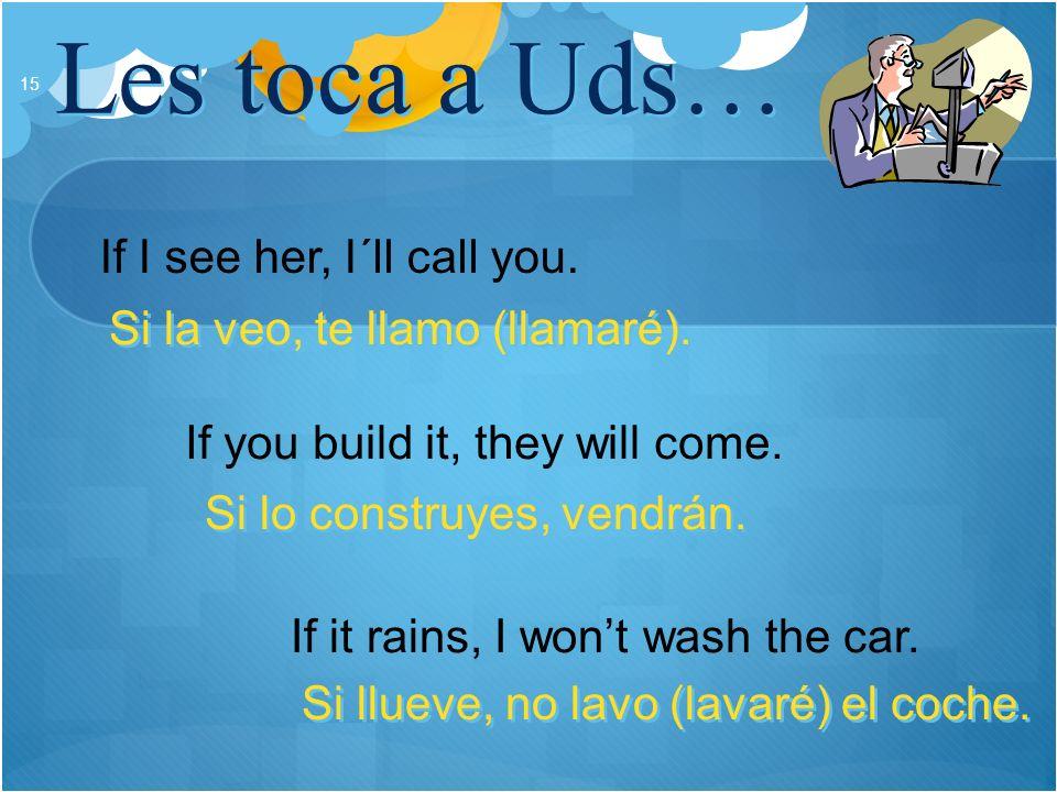 Les toca a Uds… 15 If I see her, I´ll call you. If you build it, they will come. If it rains, I wont wash the car. Si la veo, te llamo (llamaré). Si l