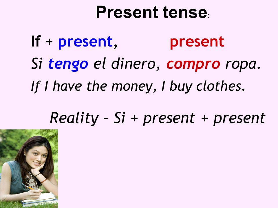If + present,future Si tengo el dinero, compraré ropa.