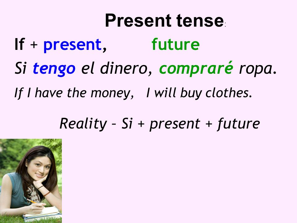 If + present,future Si tengo el dinero, compraré ropa. If I have the money, I will buy clothes. Reality – Si + present + future Present tense :