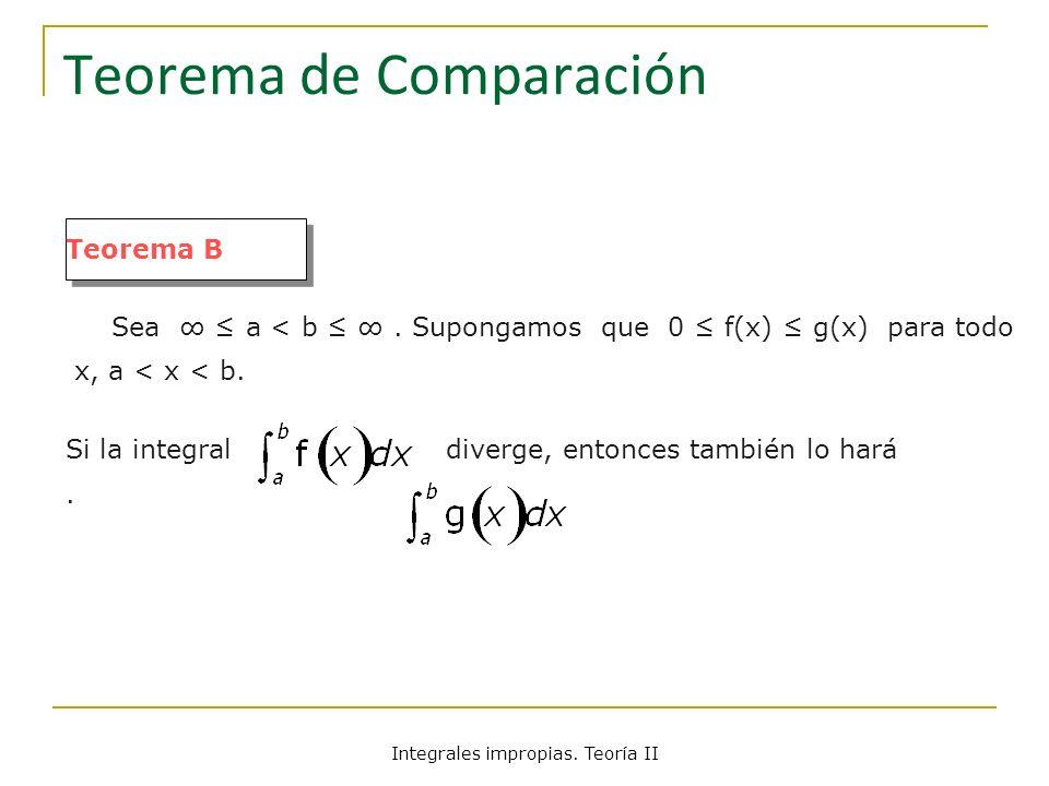 Teorema de Comparación Teorema B Sea a < b. Supongamos que 0 f(x) g(x) para todo x, a < x < b. Si la integral diverge, entonces también lo hará. Integ