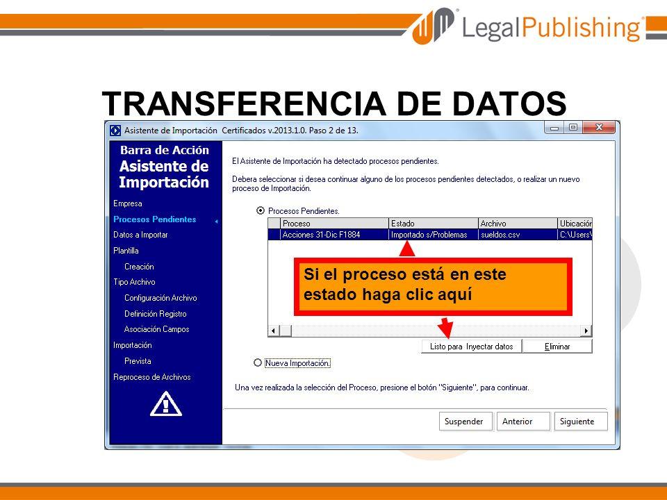 TRANSFERENCIA DE DATOS Si el proceso está en este estado haga clic aquí