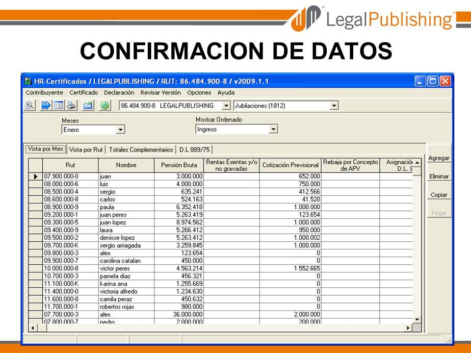 CONFIRMACION DE DATOS