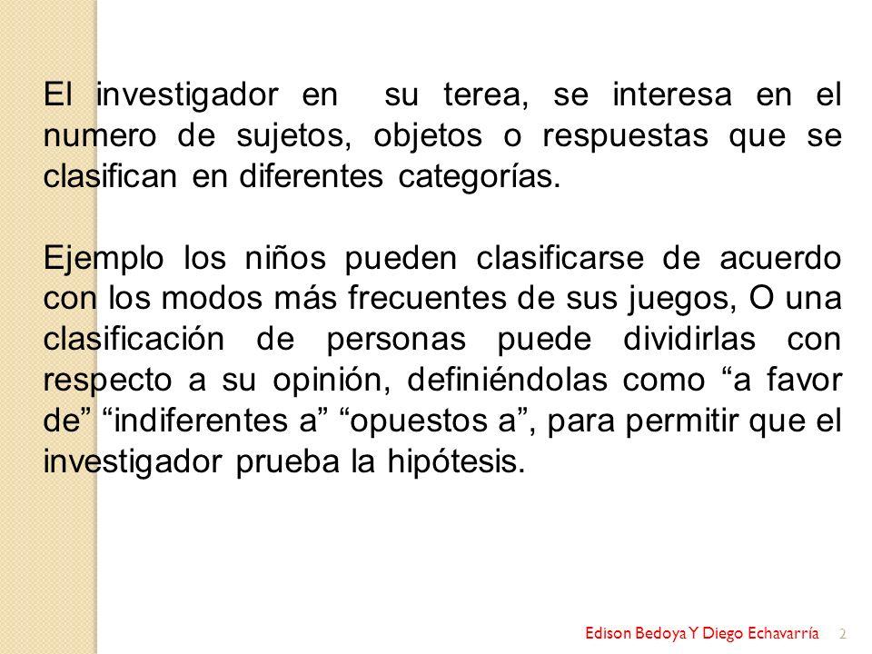 Edison Bedoya Y Diego Echavarría 2 El investigador en su terea, se interesa en el numero de sujetos, objetos o respuestas que se clasifican en diferen