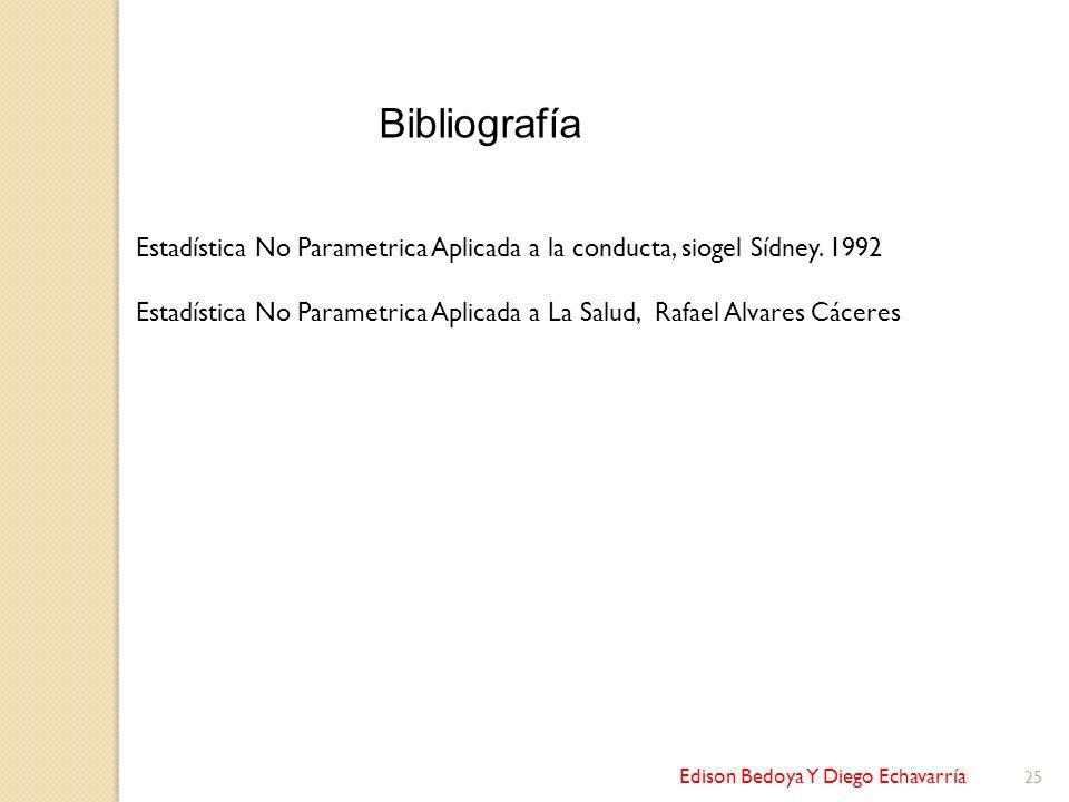Edison Bedoya Y Diego Echavarría 25 Bibliografía Estadística No Parametrica Aplicada a la conducta, siogel Sídney. 1992 Estadística No Parametrica Apl