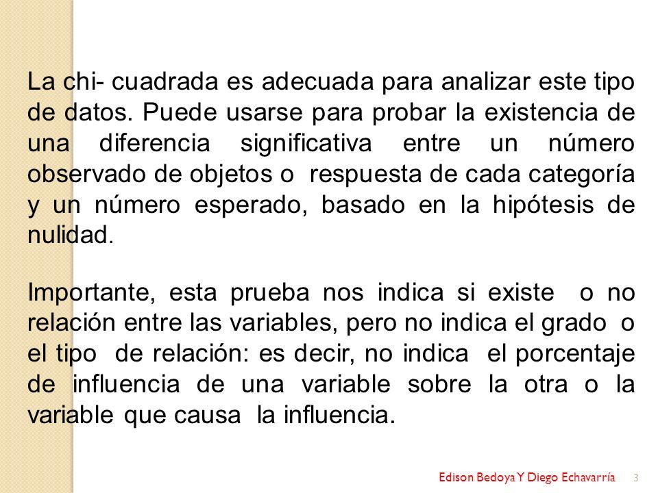 Edison Bedoya Y Diego Echavarría 14 Se puede observar que para una probabilidad de 0.05 corresponde la cifra de 5.99; por lo tanto, el estadístico ji cuadrada de 4.3 tiene una probabilidad mayor que 0.05.
