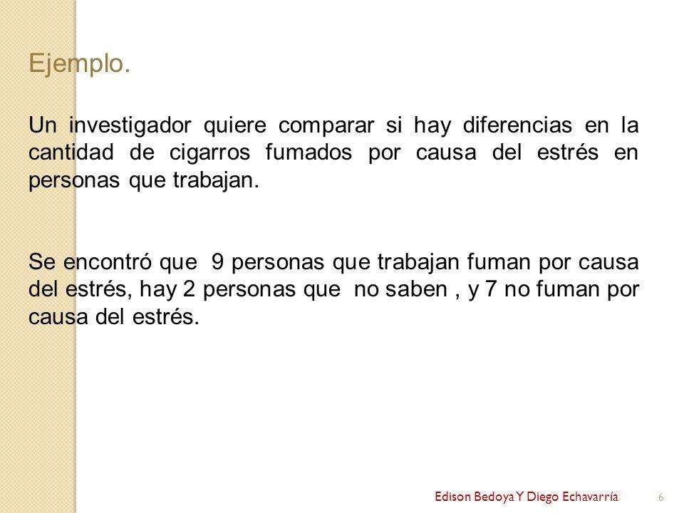 Edison Bedoya Y Diego Echavarría 6 Ejemplo. Un investigador quiere comparar si hay diferencias en la cantidad de cigarros fumados por causa del estrés