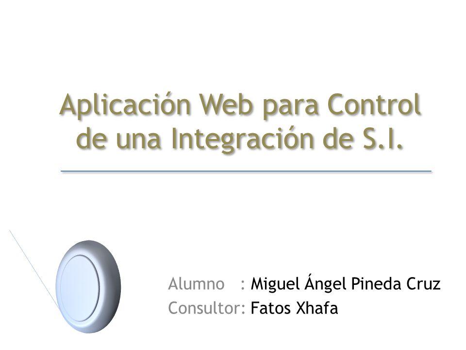 Aplicación Web para Control de una Integración de S.I. Alumno : Miguel Ángel Pineda Cruz Consultor: Fatos Xhafa