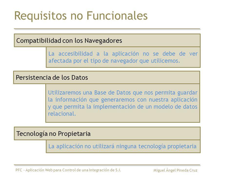 Requisitos no Funcionales Compatibilidad con los Navegadores La accesibilidad a la aplicación no se debe de ver afectada por el tipo de navegador que