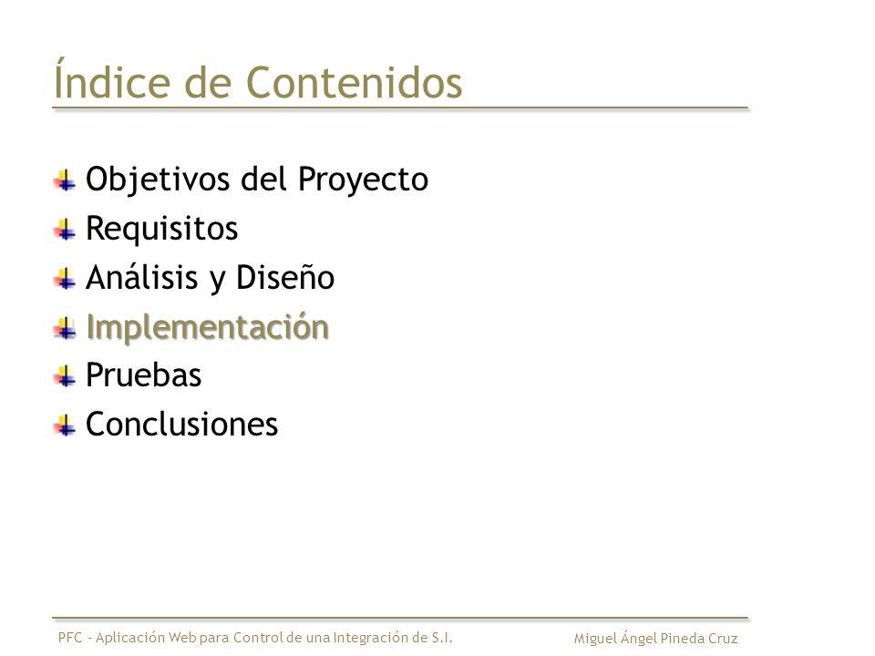 Índice de Contenidos Objetivos del Proyecto Requisitos Análisis y DiseñoImplementación Pruebas Conclusiones Miguel Ángel Pineda Cruz PFC – Aplicación