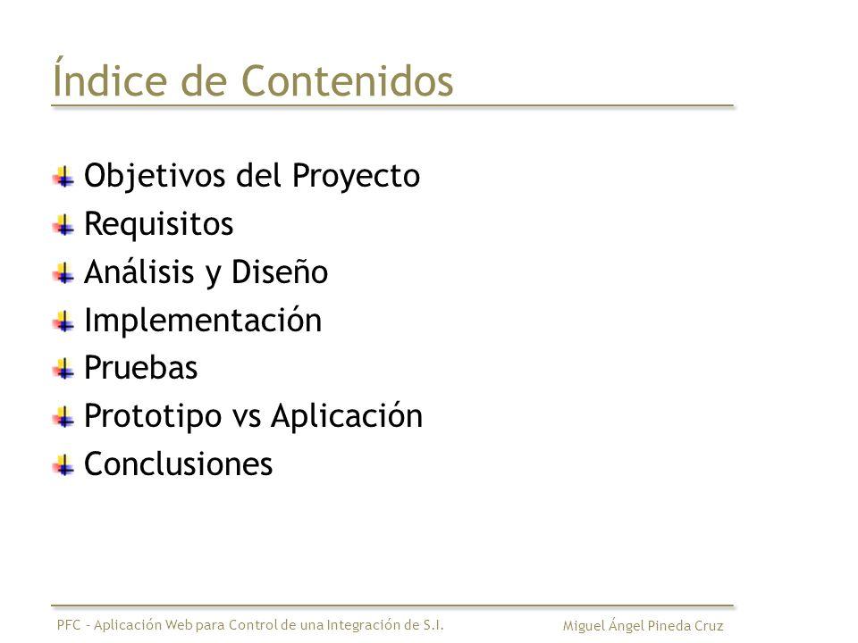 Índice de Contenidos Objetivos del Proyecto Requisitos Análisis y Diseño Implementación Pruebas Prototipo vs Aplicación Conclusiones Miguel Ángel Pineda Cruz PFC – Aplicación Web para Control de una Integración de S.I.