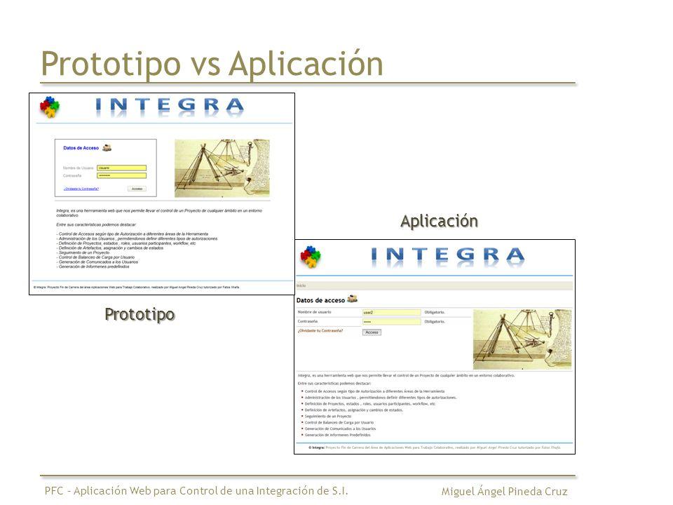 Prototipo vs Aplicación Miguel Ángel Pineda Cruz PFC – Aplicación Web para Control de una Integración de S.I. Prototipo Aplicación