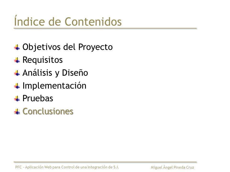 Índice de Contenidos Objetivos del Proyecto Requisitos Análisis y Diseño Implementación PruebasConclusiones Miguel Ángel Pineda Cruz PFC – Aplicación