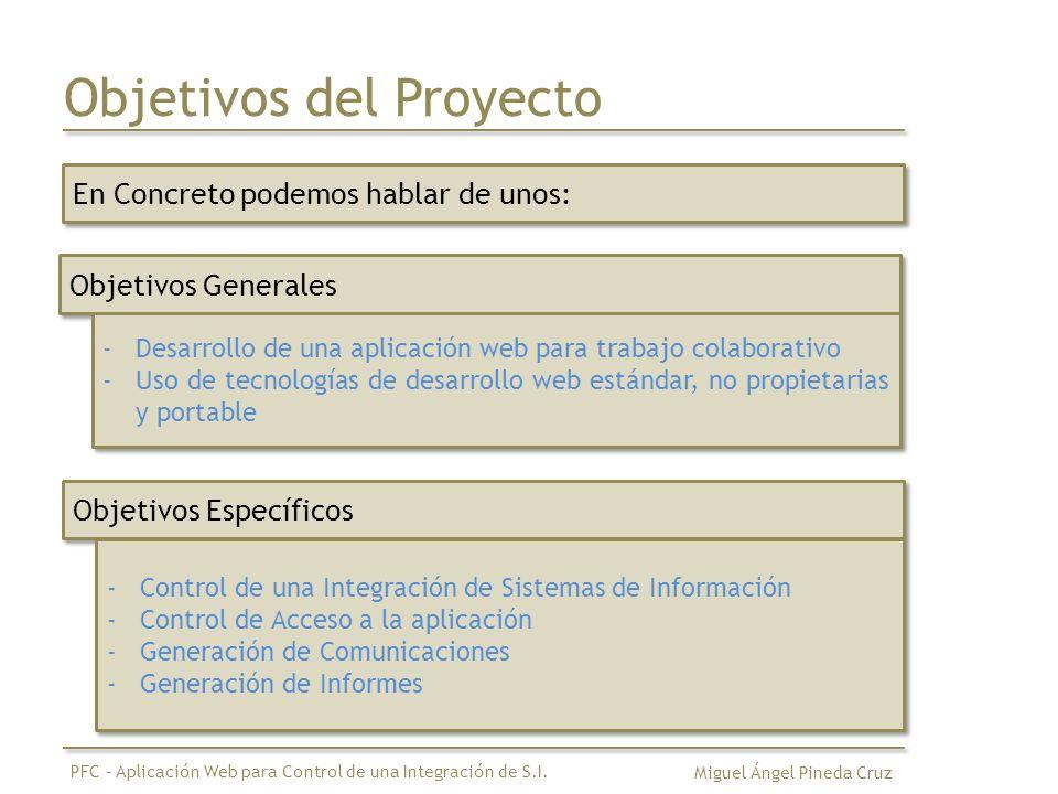 Objetivos del Proyecto En Concreto podemos hablar de unos: Miguel Ángel Pineda Cruz PFC – Aplicación Web para Control de una Integración de S.I.